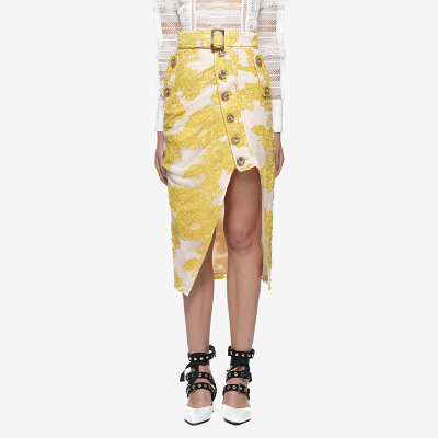 Summer Self Portrait Designer Skirts Womens 2019 Bohemian High Waist Yellow Floral Lace Skirt Saia Midi