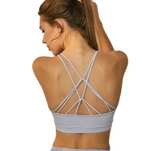 Women Crisscross Straps Solid Yoga Sports Bra Vest Brand New Push Up Sport Top Padded Fitness Athletic Underwear Running