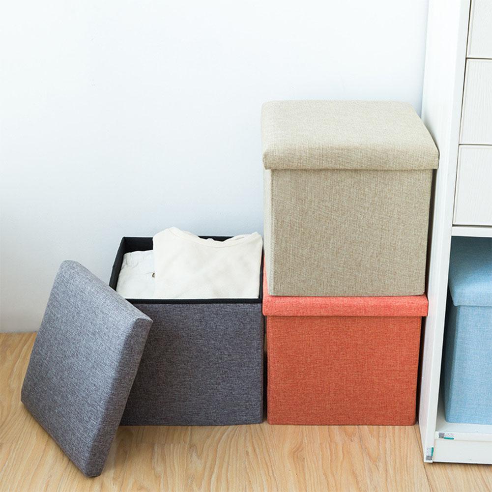 Pouf de rangement multifonction en lin de coton tabouret de siège pliable coffre coffre à jouets banc de pouf - 2