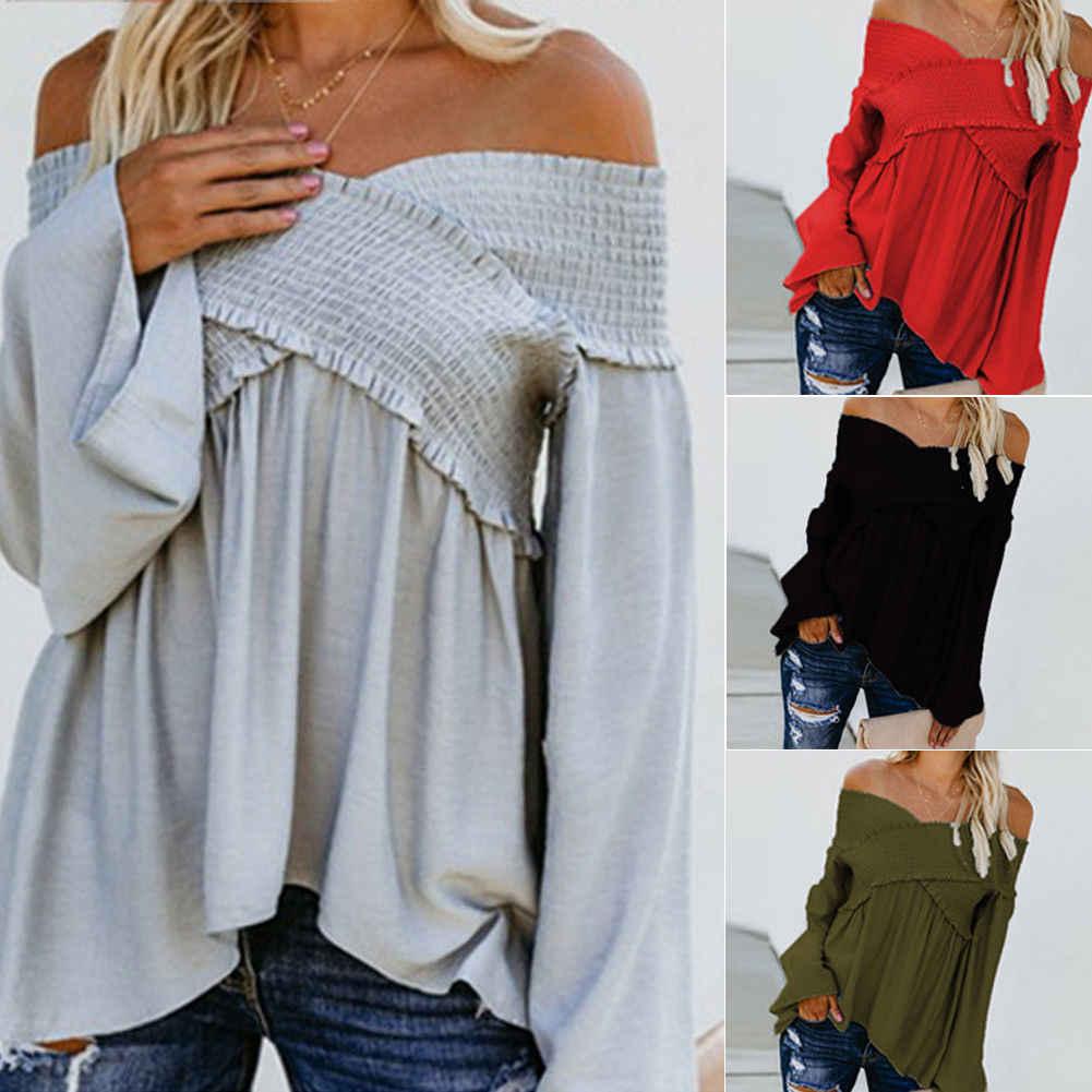 2bce0654fc256 Fashion Women Long Sleeve Loose Ruffle Criss-Cross Pleated T Shirts Ladies  Summer Off Shoulder