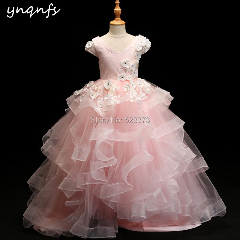YNQNFS G1 Real Princess Pink Flower Girl Dresses Ruffles Ball Gown Baby Kids Child Pageant Birthday Party Photography Dress