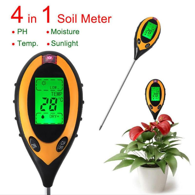 Professional 4 In 1 LCD PH Meter Garden Soil Tester Digital Temperature Sunlight Moisture PH Meter Gauge Garden Gardening Tool
