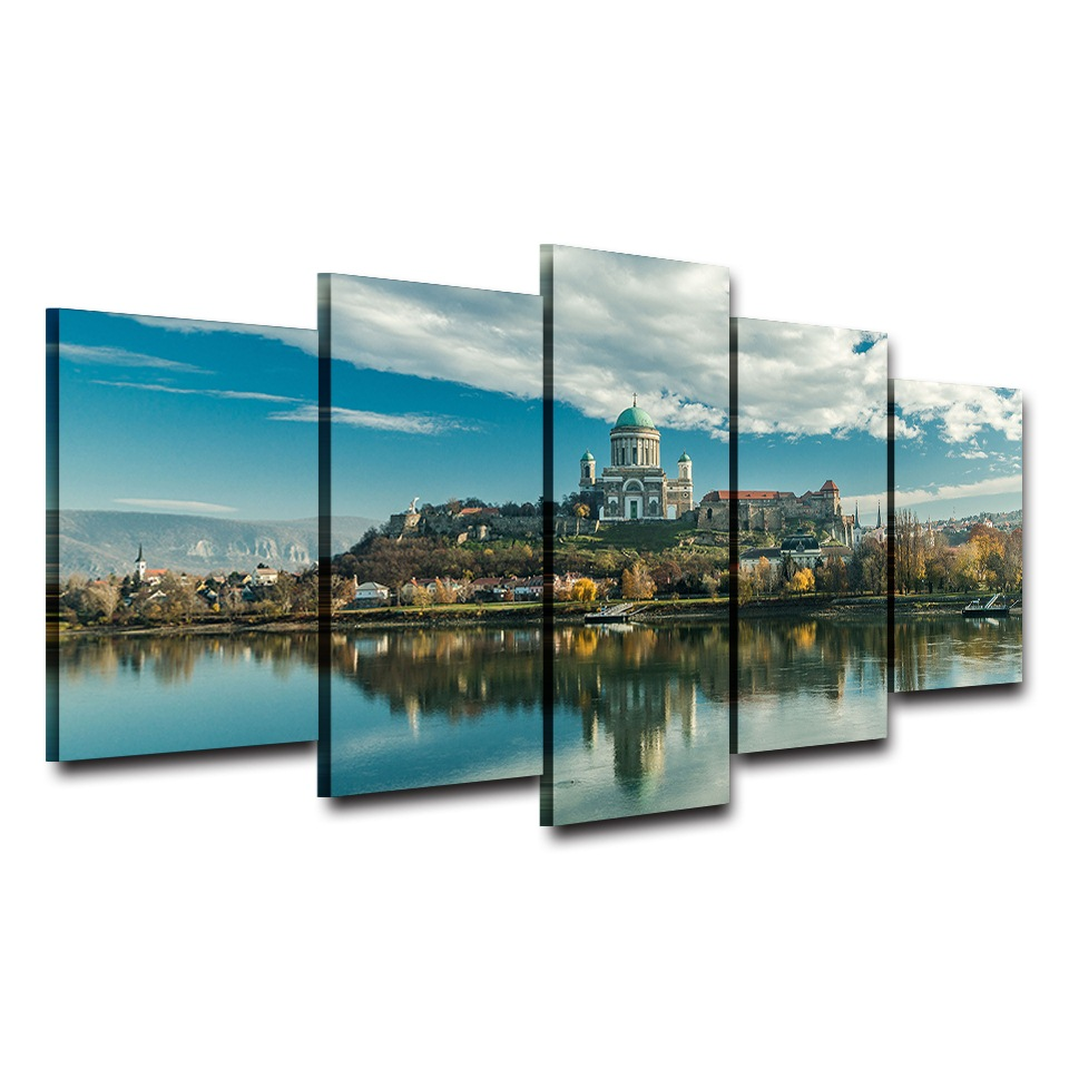 Canvas Paintings Wall Art Framework Living Room Home Decor 5 Pieces Castle Lake Landscape Paintings Pictures HD Prints Posters in Painting Calligraphy from Home Garden