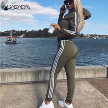 Tracksuit Women Pullovered Yoga Set Sport Wear For Long Sleeve Slit Solid Sweatshirts Two Piece Tops+Pants Suit