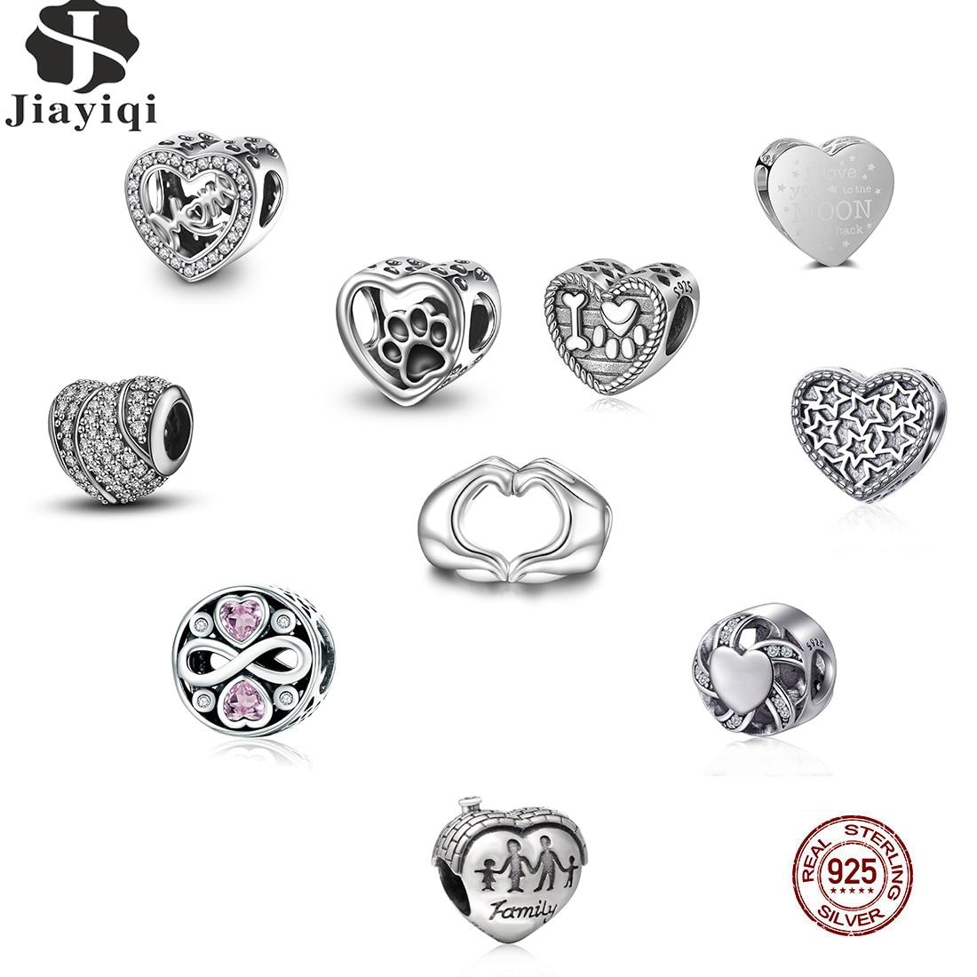 Perlen Jiayiqi 925 Sterling Silber Für Frauen Herz Geformt Piercing Charme Perlen Armband Anhänger Diy Zubehör Original Silber Schmuck