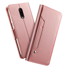 for OnePlus 7 Pro Case PU Leather Wallet Case Flip Kickstand Cover with Mirror and Card Slots Shockproof Magnet Buckle Fundas