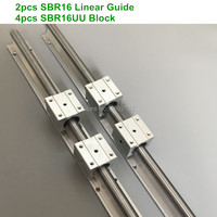 2pcs SBR16 16mm linear rail 1000 1200 1500mm length support round guide rail + 4pcs SBR16UU slide block for cnc