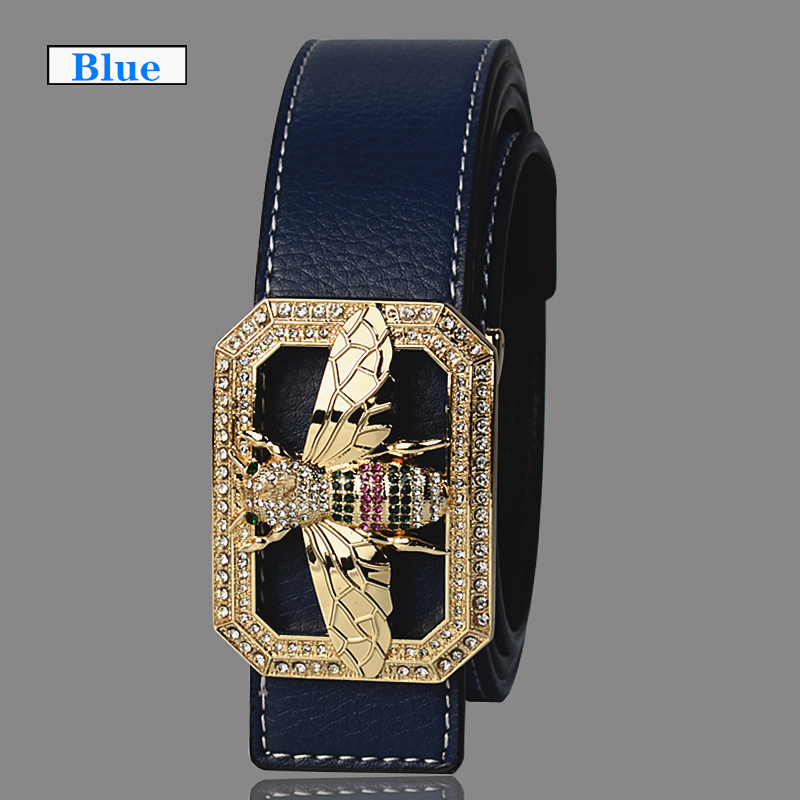 Image 2 - Luxury Brand Belts for Men &Women Unisex Fashion Shiny Bee Design Buckle High Quality Waist Shaper Leather Belts 2019-in Men's Belts from Apparel Accessories on AliExpress