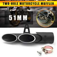 Autoleader Universal 51mm Two Hole Motorcycle Exhaust Aluminum Muffler Pipe+DB Killer+Clamp For Dirt Bike/Street Bike/Scooter