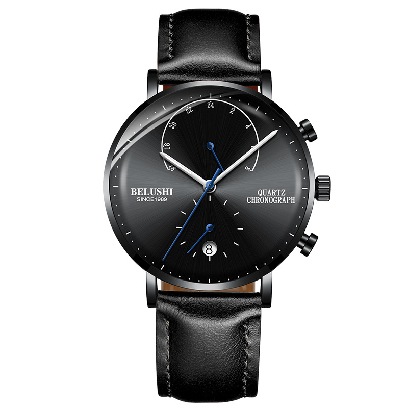 Belushi Mens Waterproof Watches Leather Strap Slim Quartz Casual Business Mens Wrist Watch Top Brand Belushi Male Clock