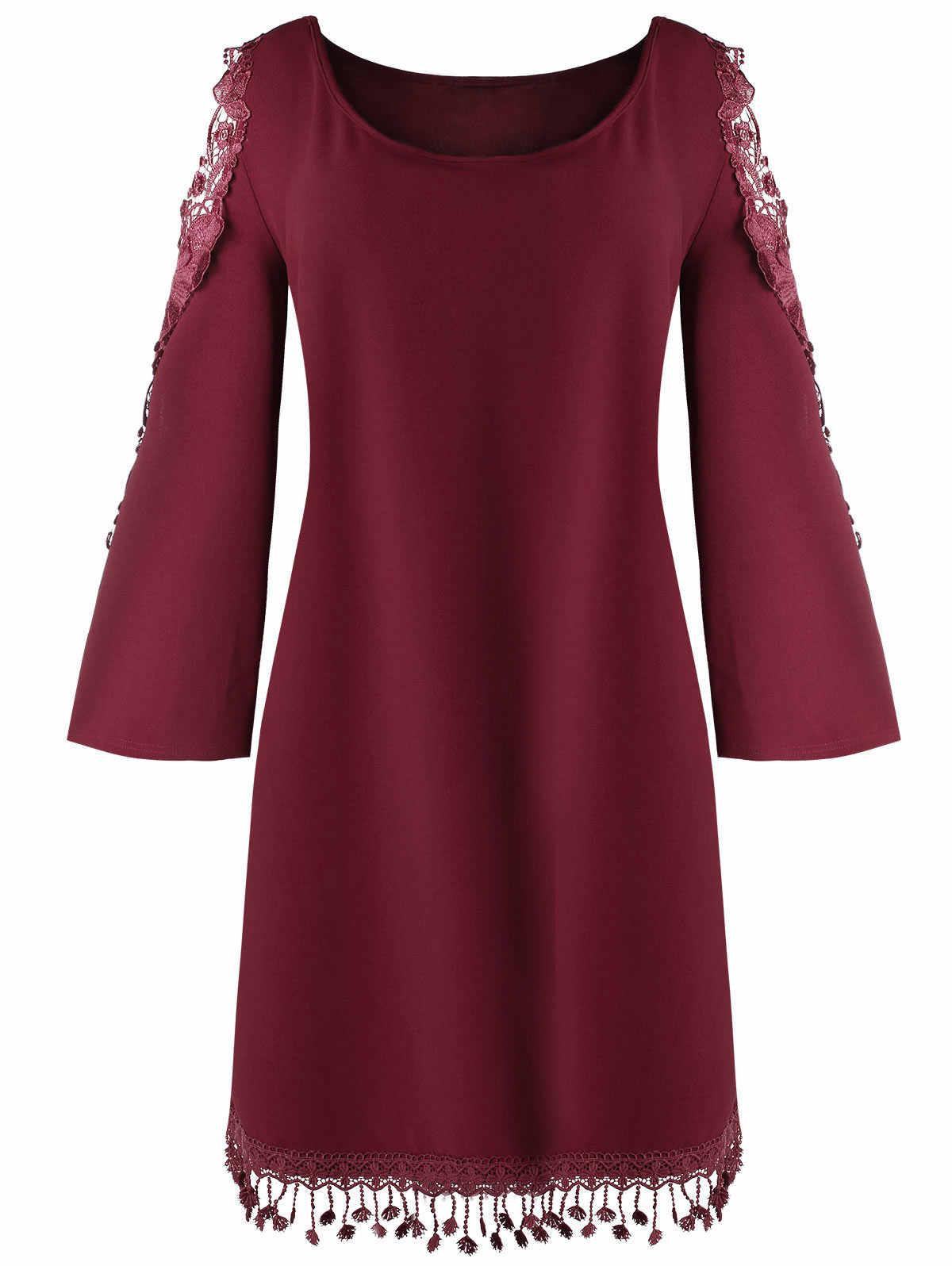 Wipalo для женщин; Большие размеры 5XL кружева Панель Cold Shoulder Shift Dress расклешенные рукава Аппликации Повседневное твердые прямой платье Vestidos