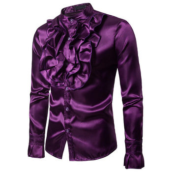 Men Party Luxury Satin Court Vintage Shirts New Casual Formal Business Slim Fit Shirts Top Clothes Clubwear
