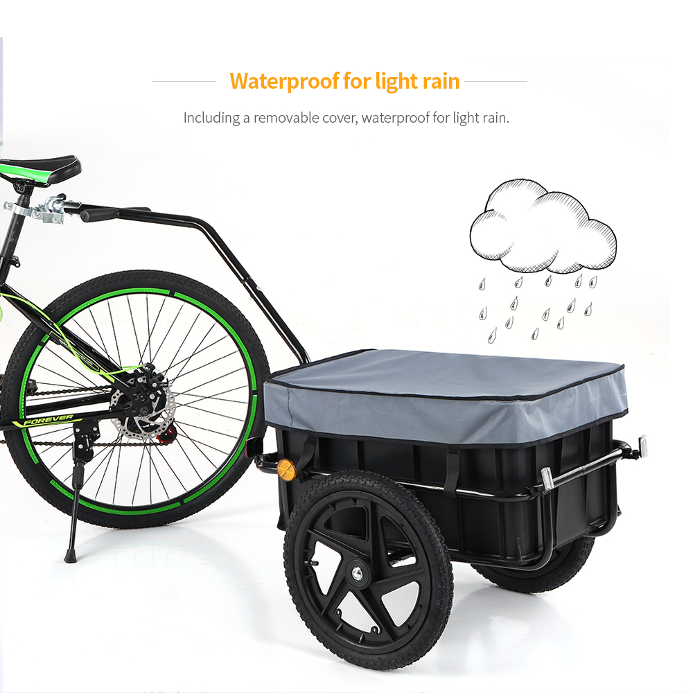 Bike Cargo Trailer Hand Wagon Bicycle Luggage Storage Trailer Cart Carrier Removable Transportation Box with Cover title=