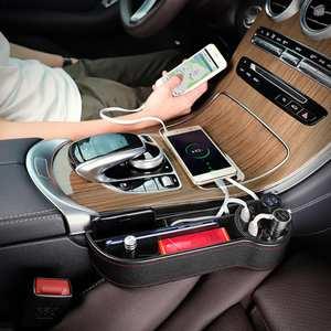 Storage Box Car Organizer Seat Gap PU Case Pocket Car Seat Side Slit 12V  Dual Cigarette Lighter Plug Charge USB Socket Splitter 2a84cb680b3d