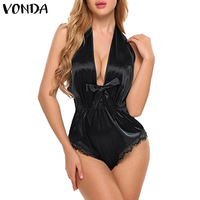 VONDA Plus Size Romper Womens Jumpsuits Sexy Deep V Neck Sleeveless Backless Bodysuits 2019 Vintage Slim Fitted Playsuit