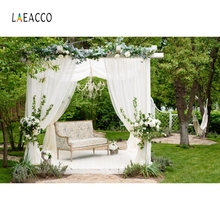 Laeacco Park Curtain Flowers Grass Wedding Backdrop Bridal Photography Background Custom Photographic Backdrops For Photo Studio