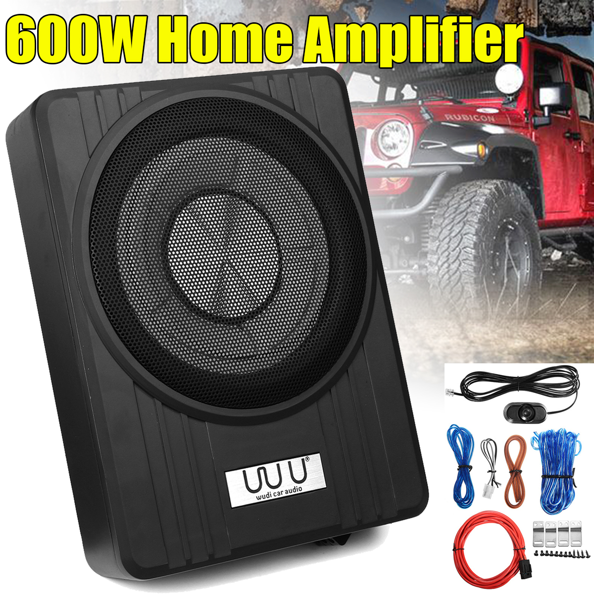 "10"" 600W Under Seat Car Subwoofer Amplifier Ultra Thin Vehicle Active Subwoofer Bass Amplifier Speaker Enclosure Car Audio-in Component Subwoofers from Automobiles & Motorcycles"