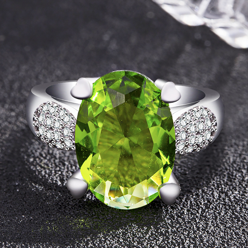 Charms Apple Green Gemstone Rings Top Brand Sterling Silver 925 Jewelry Ring For Women Party Wedding Rings Size 6 7 8 9 10