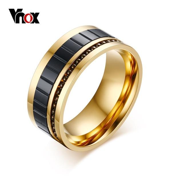 Vnox Ouro-Cor do Anel Dos Homens 10 MM de Largura Anéis de Aço de Titânio para Homens Jóias Da Moda Frisado Inserir Anéis