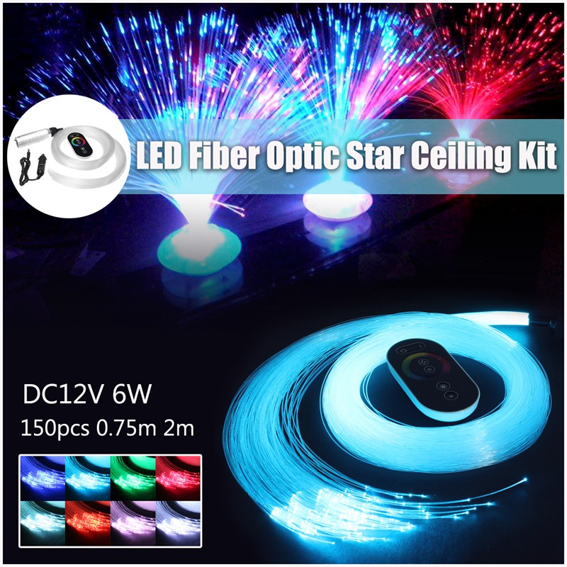 150pcs/lot Car DC12V 6W RGB LED Fiber Optic Star Ceiling Engine Light Kit 0.75m 2m Car Decor Inner Ceiling Light Drop Shipping