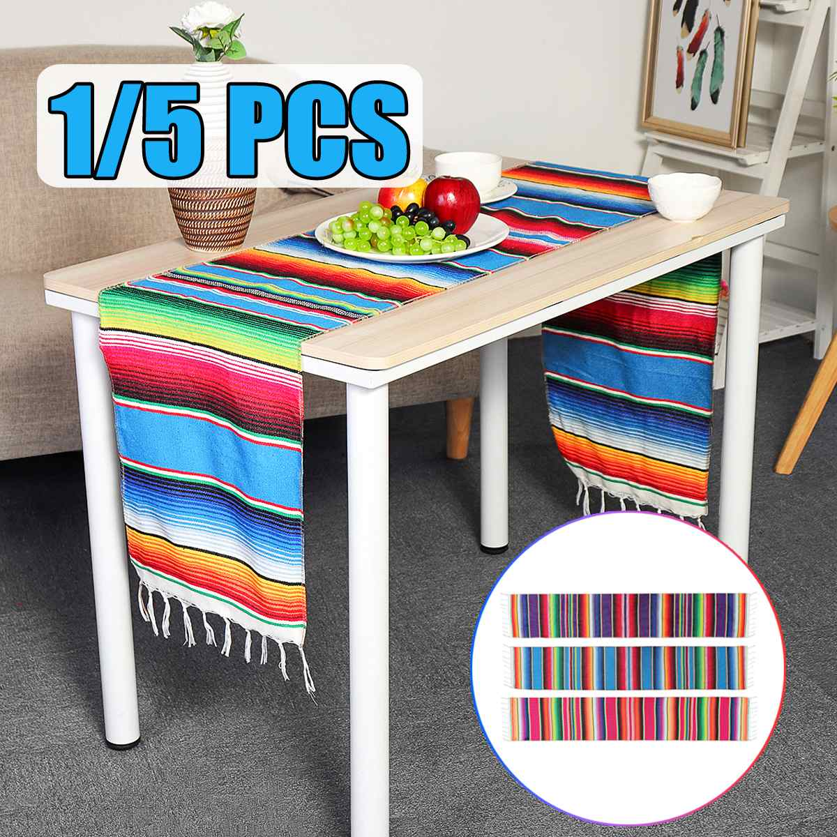 1/5PCS Cotton Mexican Party Serape Tablecloth Table Runner Rainbow DIY Wedding Party Table Runners Home Decor 3 Colors 213X35cm1/5PCS Cotton Mexican Party Serape Tablecloth Table Runner Rainbow DIY Wedding Party Table Runners Home Decor 3 Colors 213X35cm