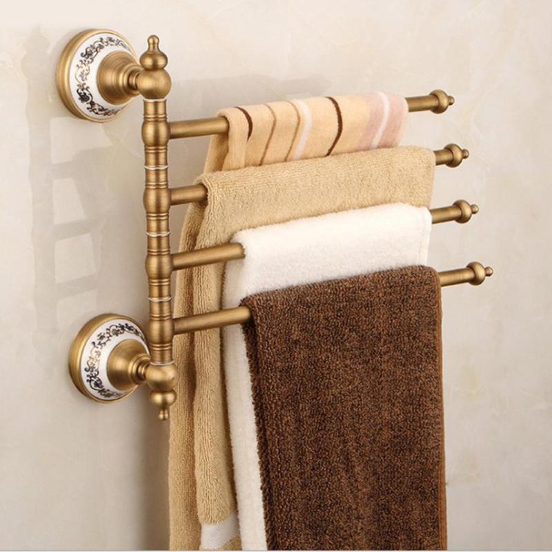 Vintage Towel Storage: Antique Brass Bath Towel Rack Active Bathroom Towel Holder