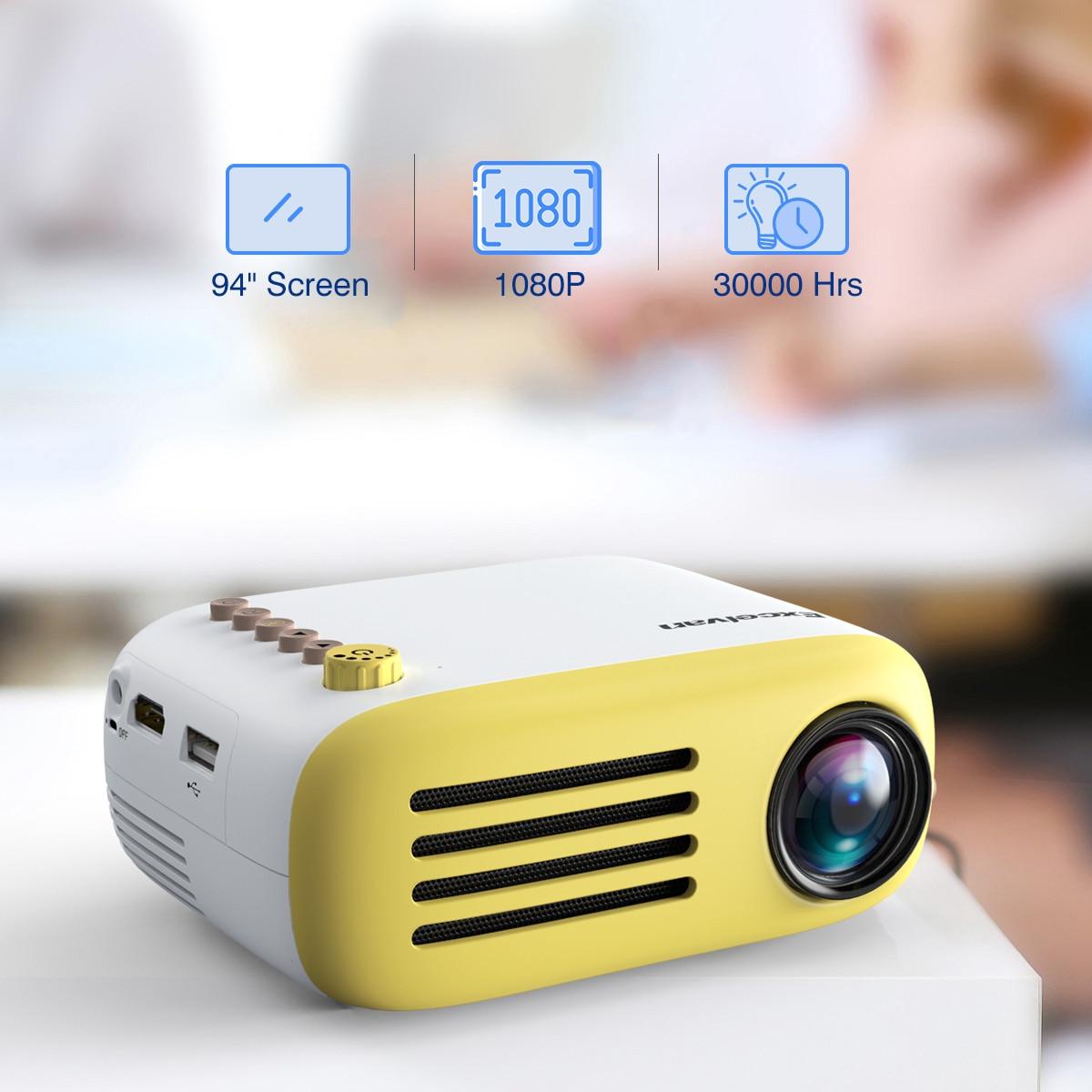 Excelvan YG200 Portable led de Poche mini projecteur AV USB SD HDMI Vidéo Movie Game Home Cinéma vidéo projecteur Batterie En Option