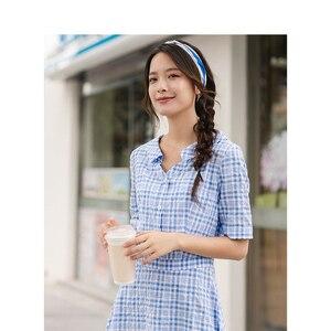 Image 4 - INMAN lato niebiesko biała chusta literacka młoda dziewczyna szczupła linia skręcić w dół kołnierz kobiety sukienka