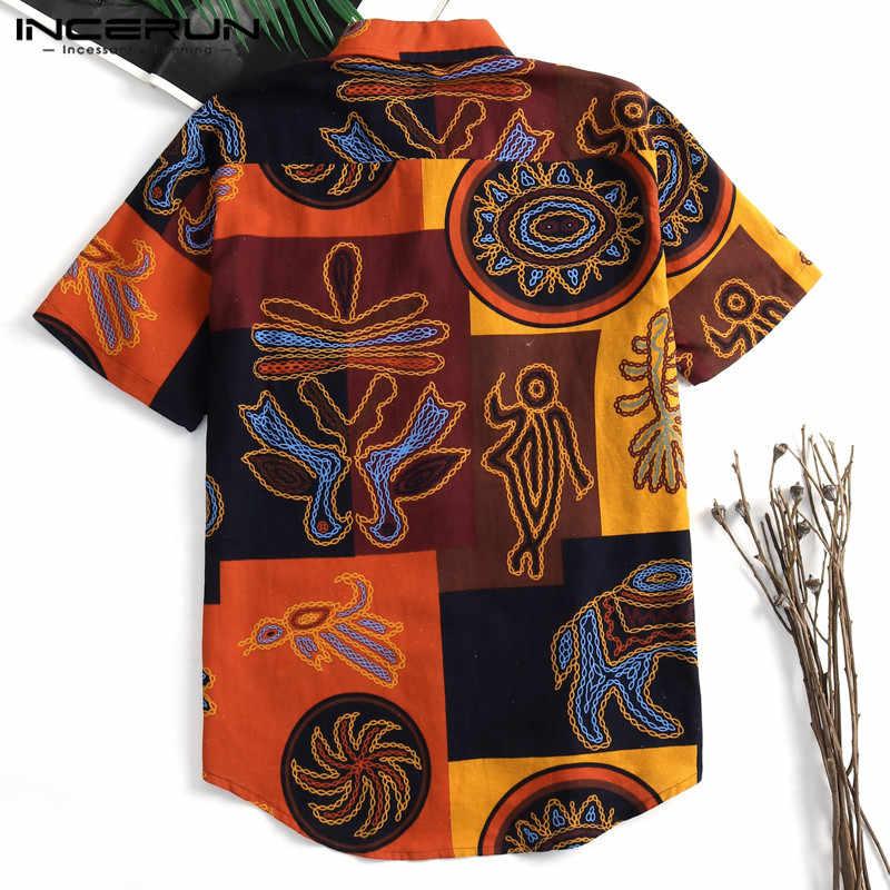 INCERUN 2019 Гавайские мужские рубашки с коротким рукавом, приталенные рубашки с цветочным принтом, праздничная уличная футболка, повседневная мужская блузка, Camisas Masculina