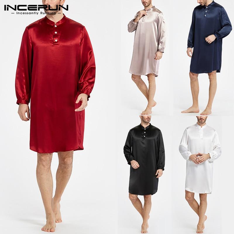 INCERUN Silk Satin Men Robe Pajamas Soft Long Sleeve Comfy Casual Men Bathrobe Sleepwear Homewear Men Kurta Suit 2019 Spring 5XL(China)