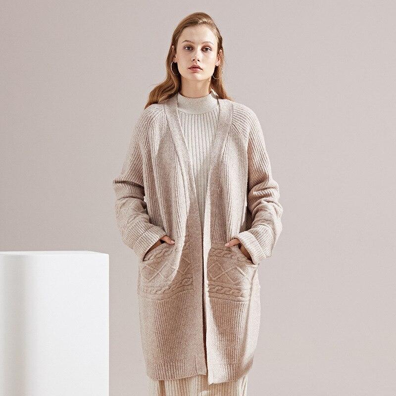 Vicugna velvet long cardigan 2018 autumn and winter new Euramerican loose all mathch sweater women 39 s sweater coat winter 8139 in Cardigans from Women 39 s Clothing