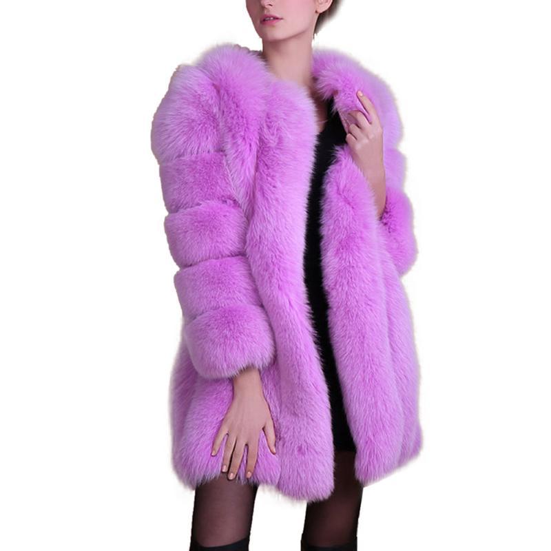 Lâche Midi Outwear black Shaggy Occasionnel Chaud Épais Faux burgundy Fourrure vert D'hiver Manteau purple White Veste Dames Cardigan Type Nouveau De Renard Artificielle iTXukZOP