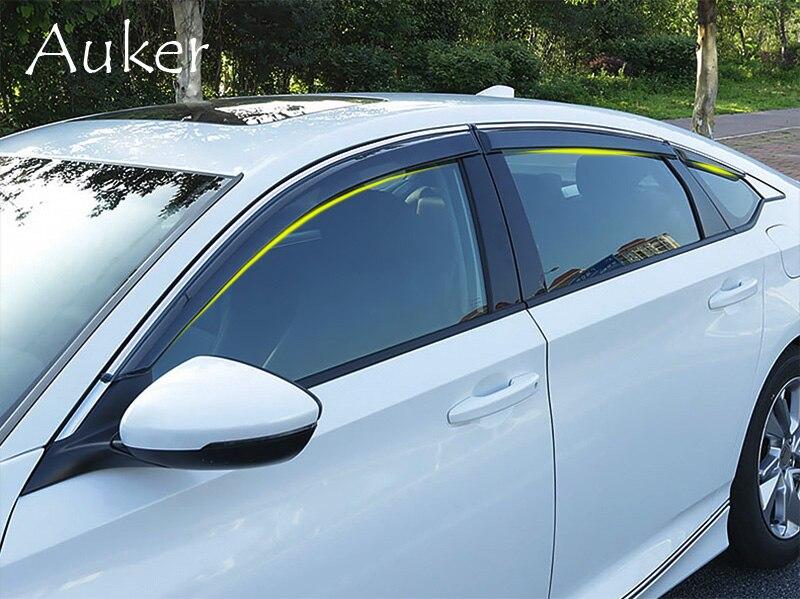 Vitres de voiture Abri Pluie Bouclier Fenêtre Visor Fenêtre Déflecteur Protection Garniture Pare-Soleil Pour Honda Accord 10th 2018