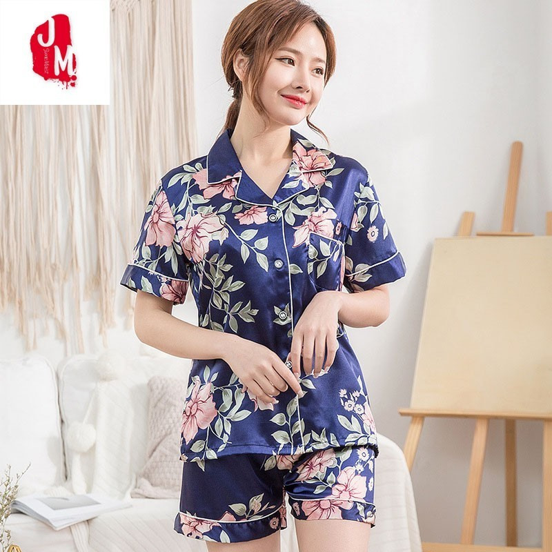 Sleep Lounge   Pajama     Set   Women Summer Sexy Faux Silk Satin Pyjamas Femme Fashion Flower   Pajamas   2PCS Short   Set   Nightwear Pijama