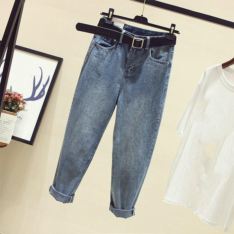 Plus Size Elastic Waist Boyfriend Loose Washed Denim Straight Jeans 4Xl 5Xl Blue Girl 39 s Casual Pants For Women in Jeans from Women 39 s Clothing