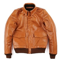 ,Brand orange men 100% genuine leather Jackets,casual slim classic A2 Oil wax cow leather jacket,qualitysales