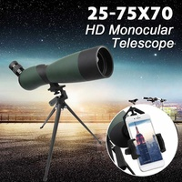 25 75x70 HD Lens Monocular Telescope Tripod CellPhone Clip Night Vision Outdoor Waterproof Telescopes