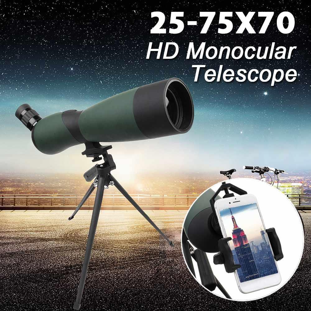 25-75x70 HD lentille monoculaire télescope trépied téléphone portable Clip Vision nocturne extérieur étanche télescopes