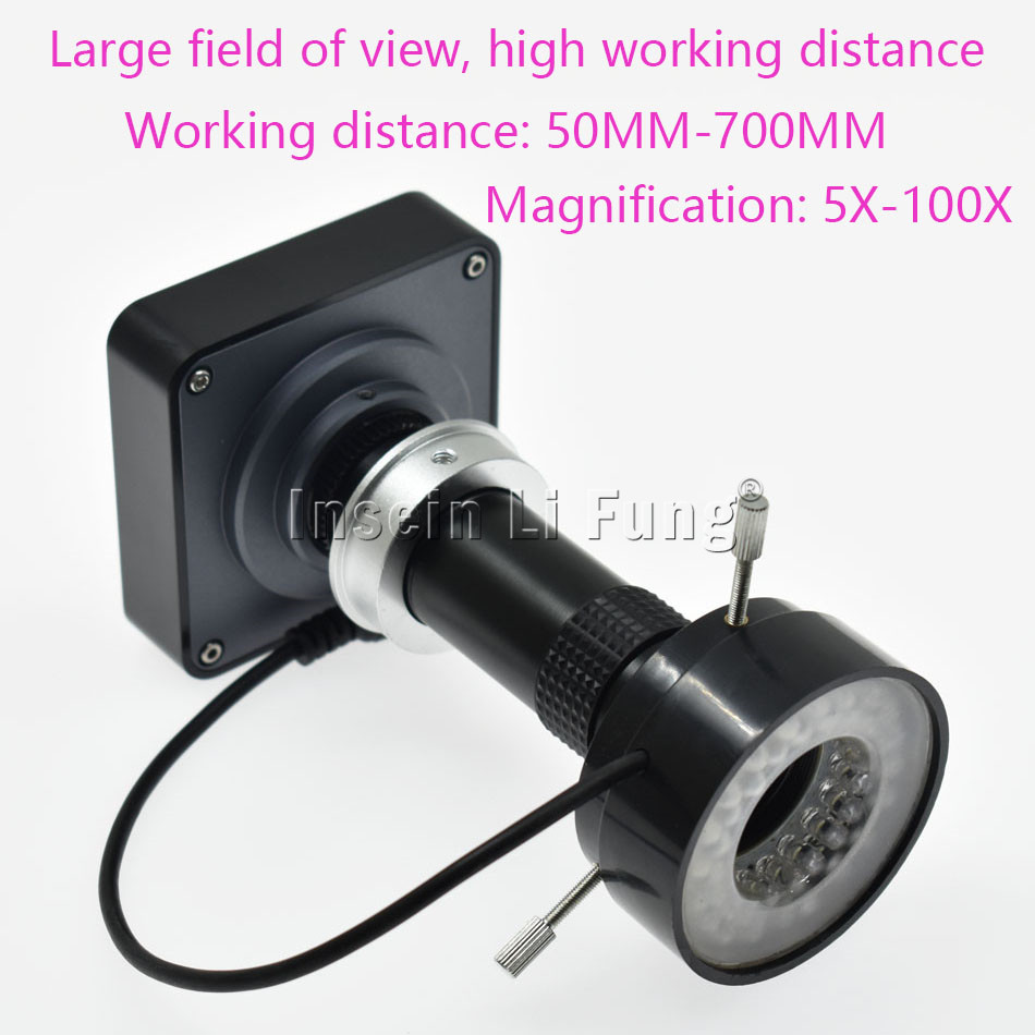 HD 38MP 2K 1080P 60fps HDMI <font><b>USB</b></font> Video <font><b>Microscope</b></font> Camera+<font><b>100X</b></font> 130X 180X 300X 400X 600X Adjustable Magnification Zoom C-mount Lens image