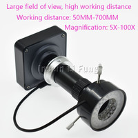 HD 38MP 2K 1080P 60fps HDMI USB Video Microscope Camera+100X 130X 180X 300X 400X 600X Adjustable Magnification Zoom C mount Lens