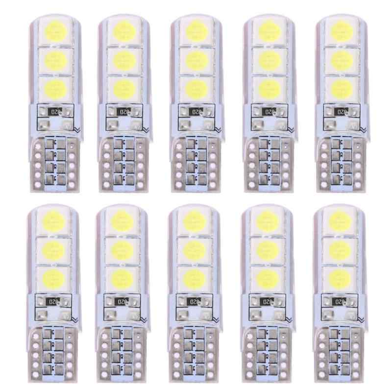10Pcs LED Car Light T10 SMD 5050 Waterproof White Wedge Light Automobiles Small Light Bulbs Light-emitting Diode Trunk Lamp