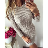Long Sleeve Ribbed Pullover Christmas Sweater Women Spring Long Sleeve Knitted Long Sweater