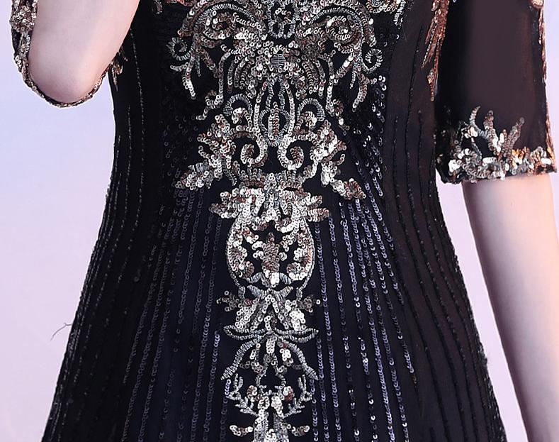 BANVASAC O Neck A Line Sequined Embroidery Long Evening Dresses Party Half Sleeve Illusion Zipper Back Prom Gowns in Evening Dresses from Weddings Events