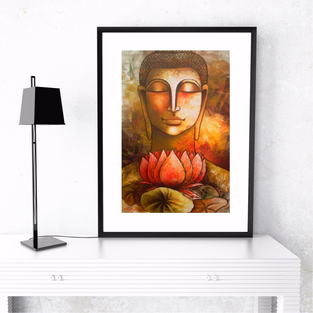 Buddha And Lotus Artwork Canvas Art Print Painting Poster Wall Pictures For Living Room Home Decorative Bedroom Decor No Frame in Painting Calligraphy from Home Garden