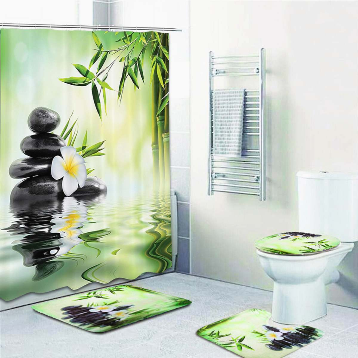 set bamboo bathroom set shower curtain