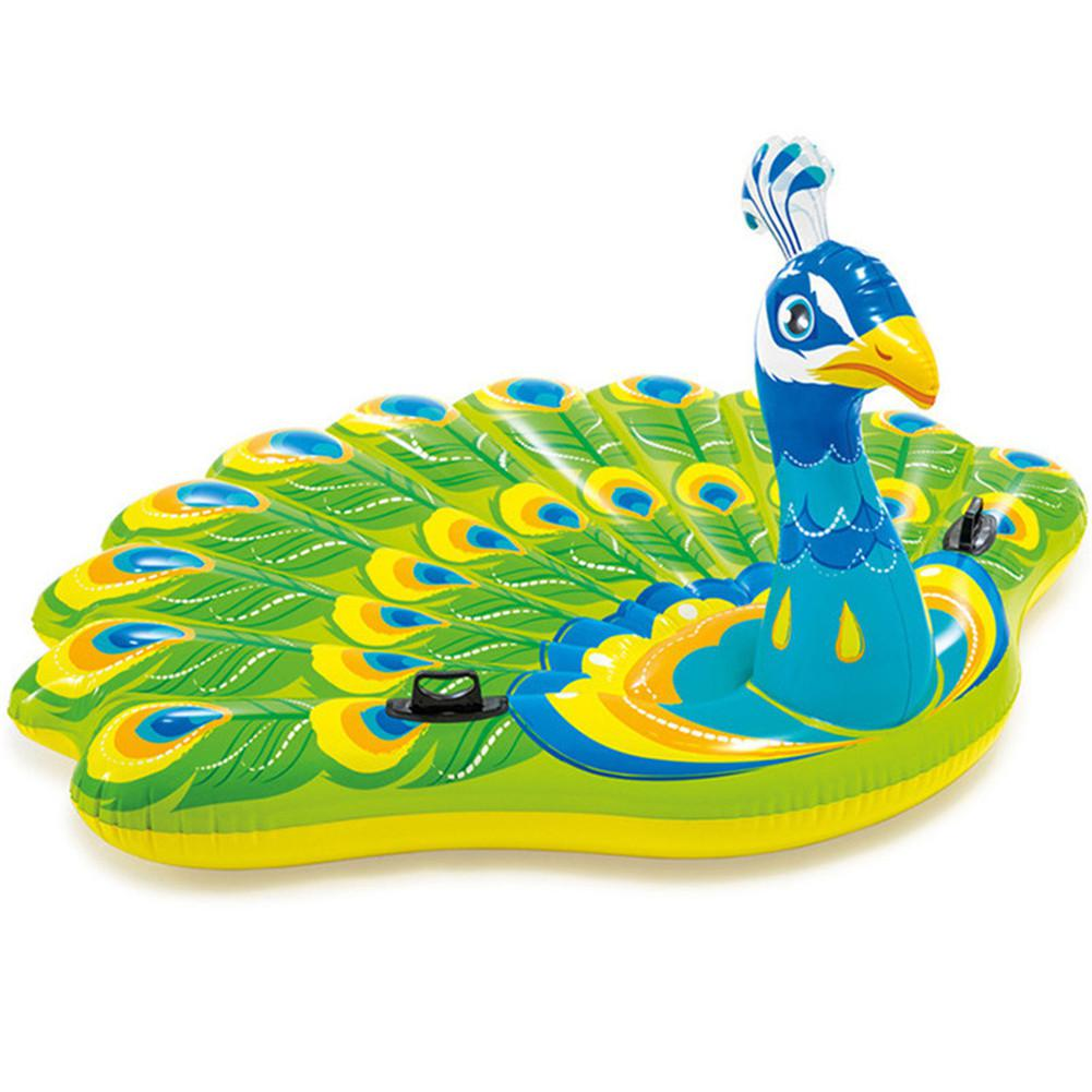 Large Inflatable Peacock Shape Life Buoy Swimming Ring Floating Bed For Adults