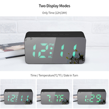 Digital RGB LED Mirror Snooze Alarm Clock USB/Battery Powered Thermometer Adjustable Luminance Function