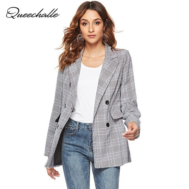 Women Casual Plaid Blazer Jackets 2019 Spring Suit Blazer Gray Long Sleeve Office Lady Formal Notched Slim Blazer Feminino