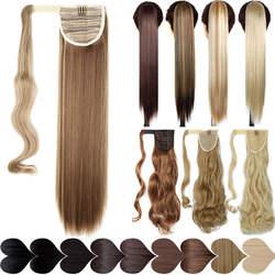 SNOILITE 17''23'' длинные шелковистые прямые хвосты на заколке в Синтетический хвост пони поддельные волосы расширение обёрточная бумага круглый