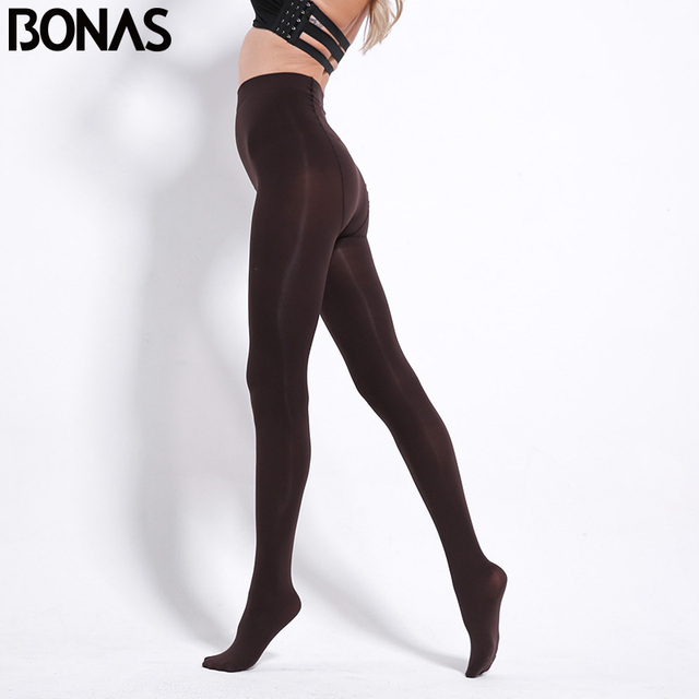 BONAS 80D Women Spring Tights High Elastic Solid  Autumn Pantyhose Women Sexy Slim Legins Female Tights Plus Size collant Femme 1